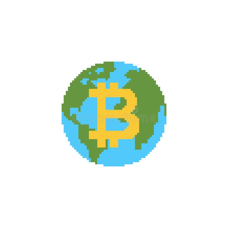 Bitcoin is future of earth. Digital world. BTC Absorption of planet. Cryptocurrency price increase. Business concept in crypto stock illustration
