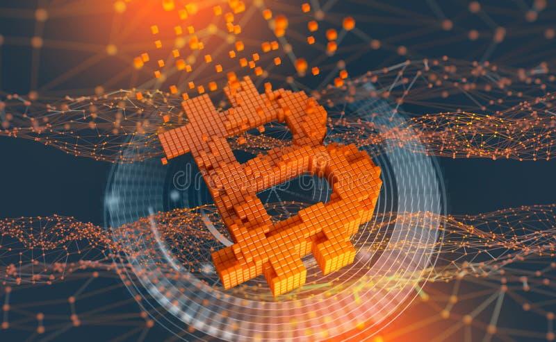 Bitcoin Futurystyczny pojęcie górniczy cryptocurrency ilustracja wektor