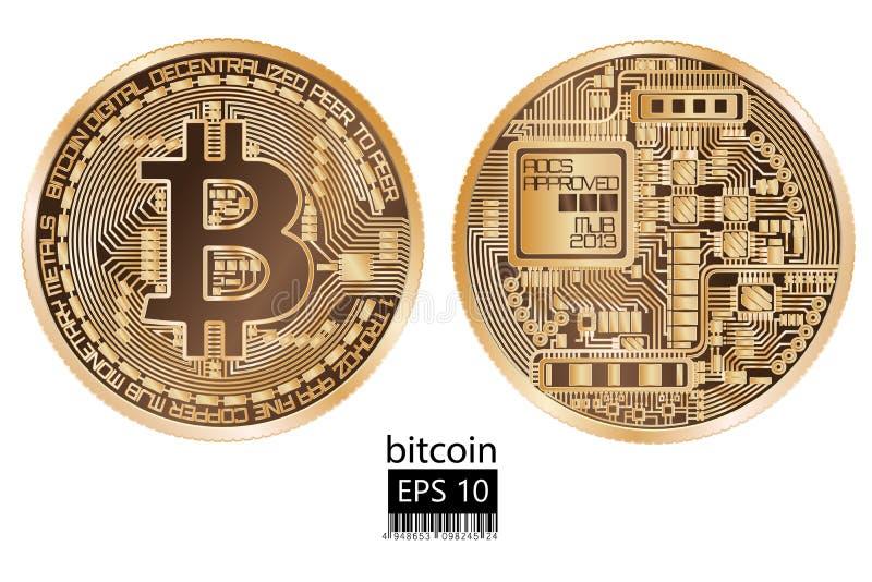 Bitcoin Fysiek beetjemuntstuk Vector illustratie vector illustratie
