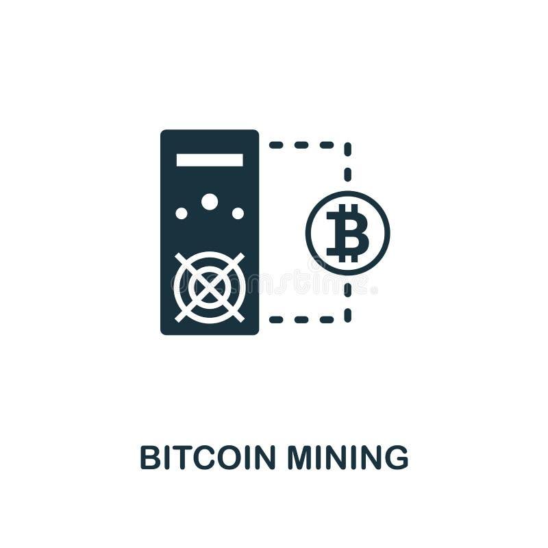 Bitcoin górnicza ikona Monochromu stylu projekt od crypto waluty ikony kolekcji Ui Piksel doskonalić prosty piktograma bitcoin mi royalty ilustracja