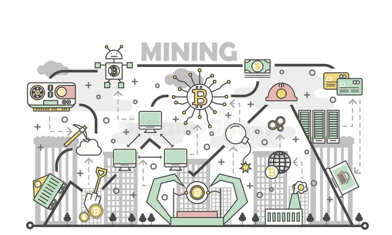Bitcoin górniczego pojęcia wektorowa ilustracja w płaskim liniowym stylu ilustracji