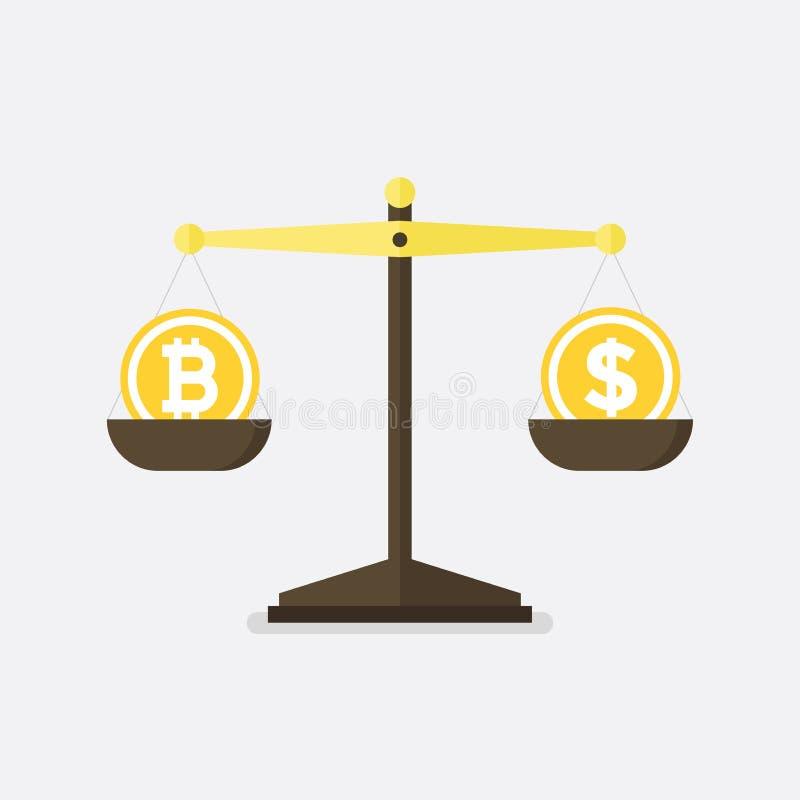 Bitcoin gegen Dollarvektorkonzept mit Balancenskalen Flaches Design stock abbildung