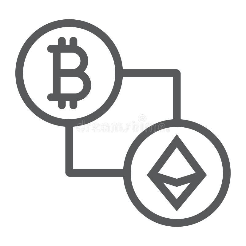 Bitcoin gegen ethereum Linie Ikone, Finanzierung und Geld stock abbildung