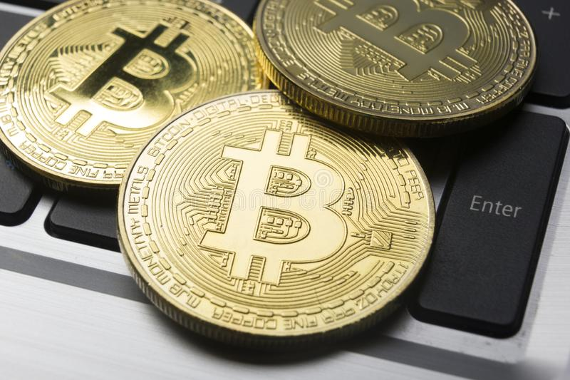 Bitcoin gold coin. Cryptocurrency concept. Virtual currency background. Bitcoin gold coin. Cryptocurrency concept. Virtual currency background stock photography