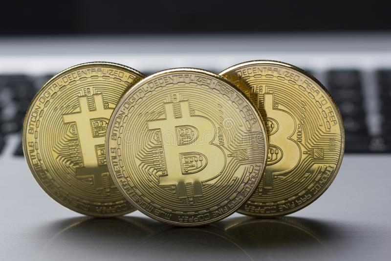 Bitcoin gold coin. Cryptocurrency concept. Virtual currency background. Bitcoin gold coin. Cryptocurrency concept. Virtual currency background royalty free stock photos
