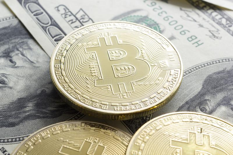 Bitcoin gold coin. Cryptocurrency concept. Virtual currency background. Bitcoin gold coin. Cryptocurrency concept. Virtual currency background royalty free stock photography