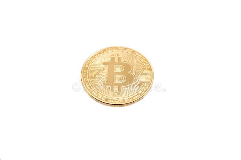 Bitcoin gold coin on white background stock images