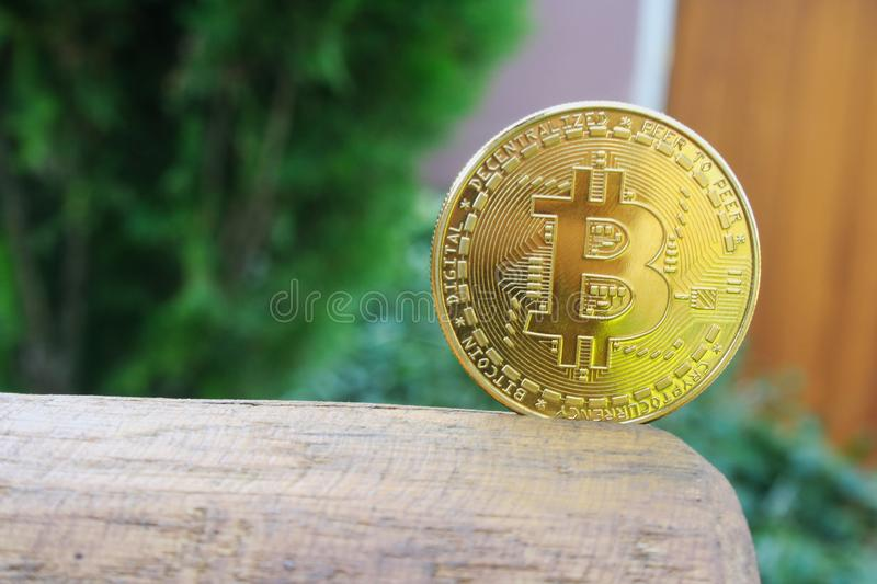 Bitcoin gold coin on wooden table with blur background, Bitcoin coin business. Concept royalty free stock images