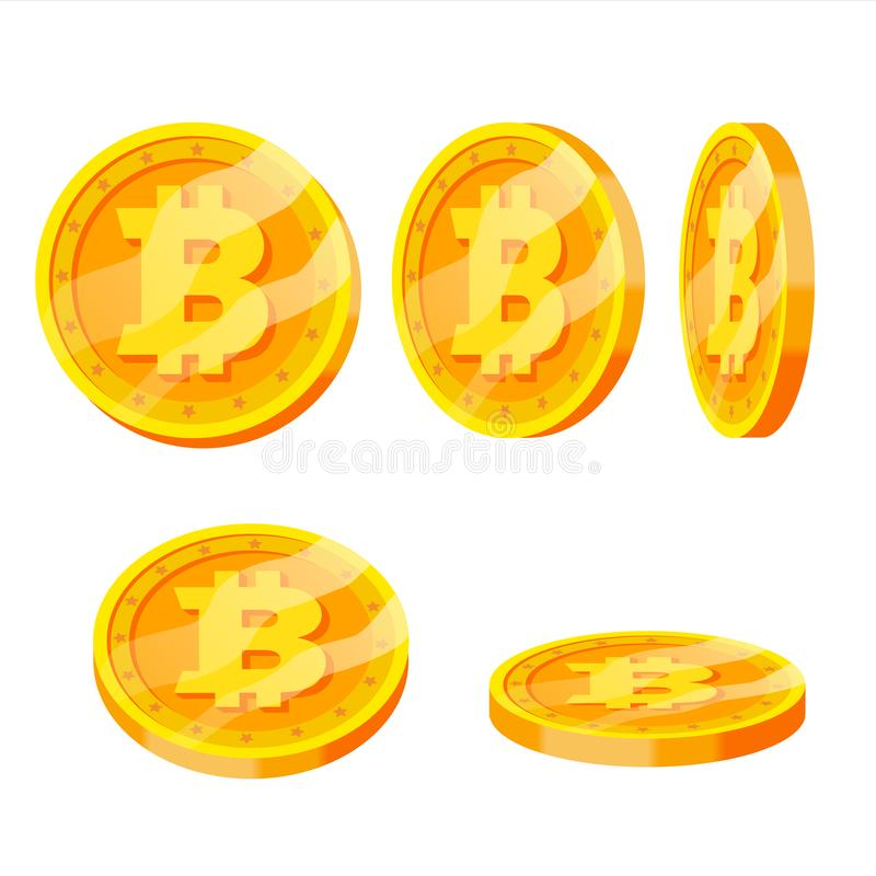 Bitcoin Gold Coins Vector Set. Flip Different Angles. Modern Virtual Money. Digital Currency. Isolated Flat illustration. Bitcoin Gold Coins Vector Set. Flip vector illustration