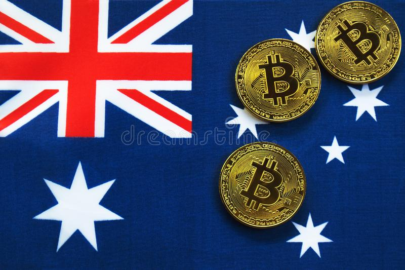 Bitcoin Gold Color on the Flag of Australia royalty free stock images