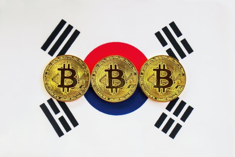 Bitcoin on the Background South Korea Flag stock photos