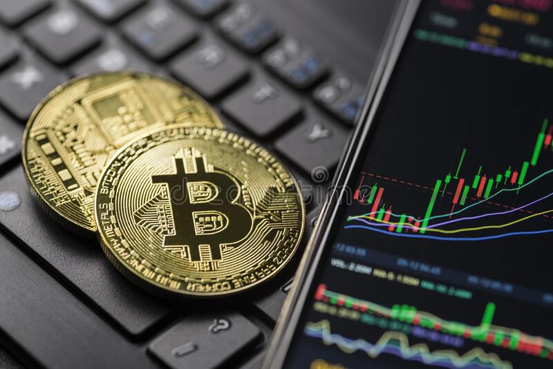 Bitcoin cryptocurrency trading royalty free stock images
