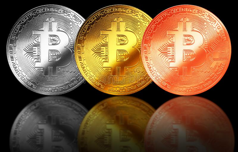 Bitcoin gold,silver,bronze coin cryptocurrency isolated background internet. Bitcoin gold,silver,bronze coin cryptocurrency isolated background stock illustration