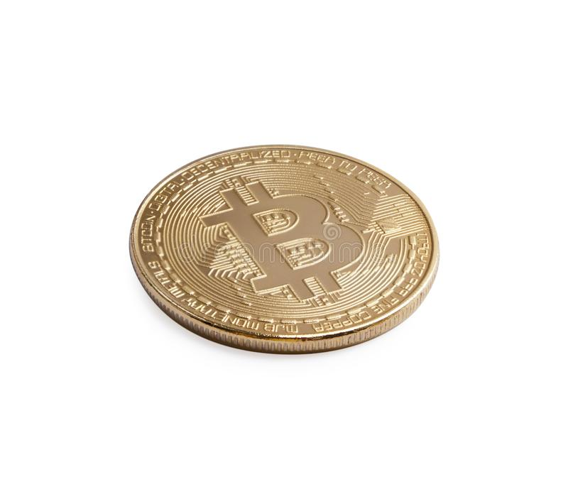 Bitcoin. Golden bitcoin isolated on white background stock images