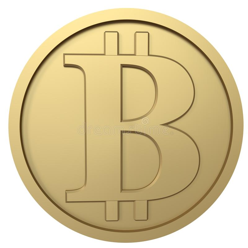 Bitcoin golden coin stock photo