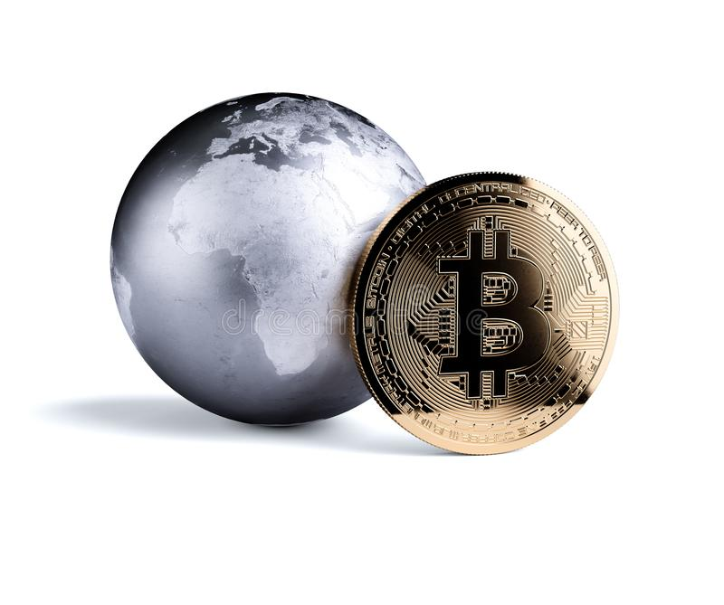 Bitcoin golden coin with metal planet Earth stock illustration