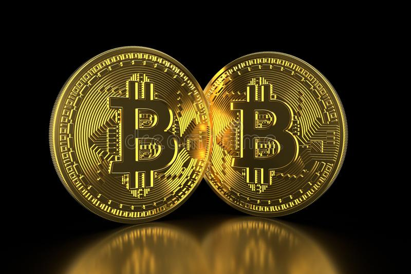 Bitcoin. Golden coins with bitcoin symbol isolated on black background. Digital currency. Block chain. Cryptocurrency. 3D illustra. Tion vector illustration