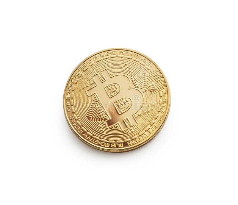 Bitcoin. Golden bitcoin isolated on white background royalty free stock photography