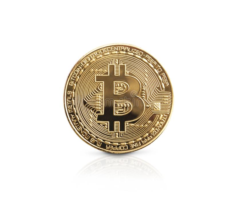 Bitcoin. Golden bitcoin isolated on white background stock photography