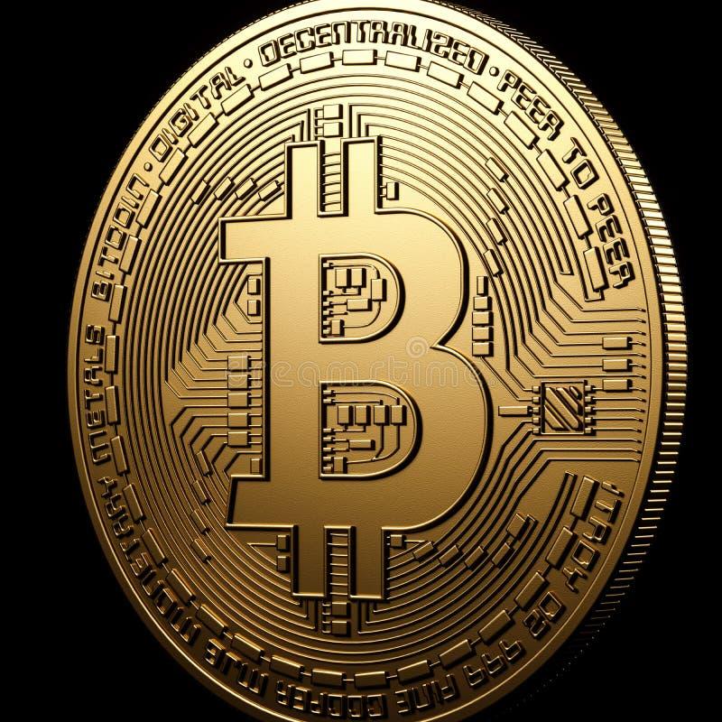 Bitcoin-Goldisolierung auf Schwarzem stockfotos