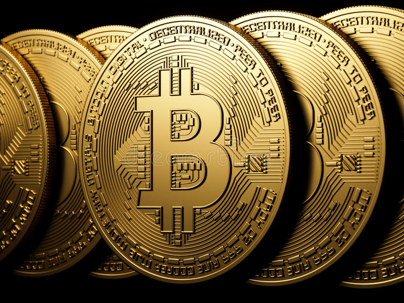 Bitcoin-Goldisolierung auf Schwarzem vektor abbildung