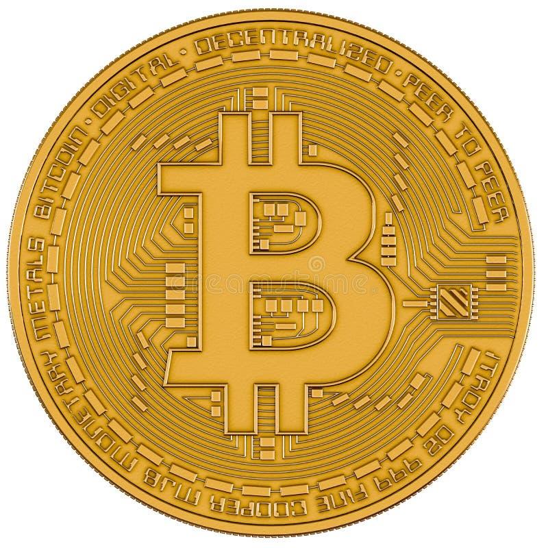 Bitcoin-Goldisolierungsweiß stock abbildung