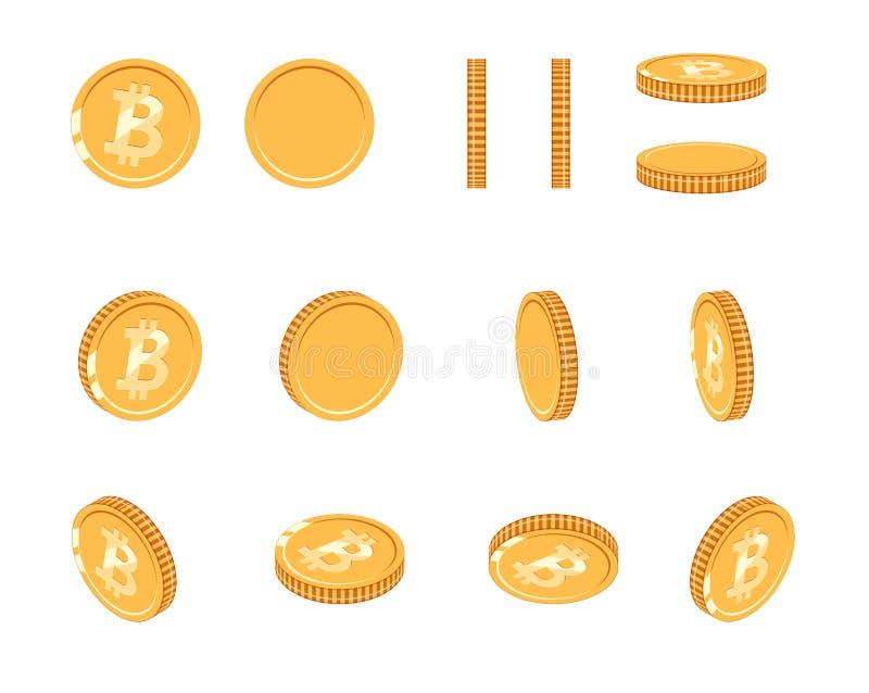 Bitcoin gouden muntstuk bij verschillende hoeken voor animatie Vectorbitcoin-reeks De munt bitcoin illustratie van het financiëng royalty-vrije illustratie