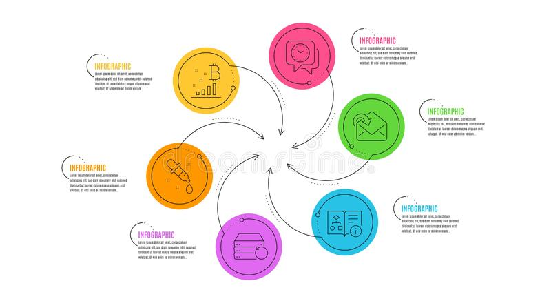 Bitcoin graph, Chemistry pipette and Clock icons set. Vector. Bitcoin graph, Chemistry pipette and Clock line icons set. Infographic timeline. Technical vector illustration