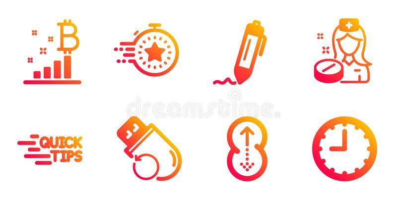 Bitcoin graph, Swipe up and Nurse icons set. Flash memory, Education and Signature signs. Timer, Time symbols. Vector. Bitcoin graph, Swipe up and Nurse line royalty free illustration