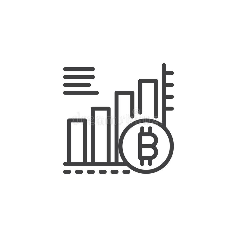 Bitcoin growing graph chart outline icon royalty free illustration