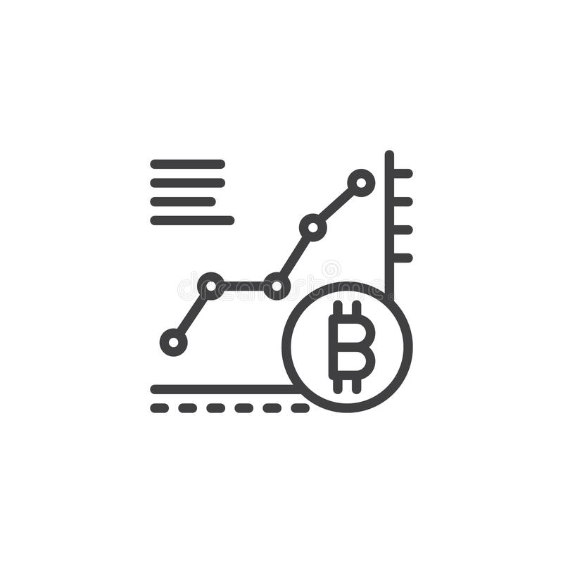 Bitcoin growth chart outline icon vector illustration