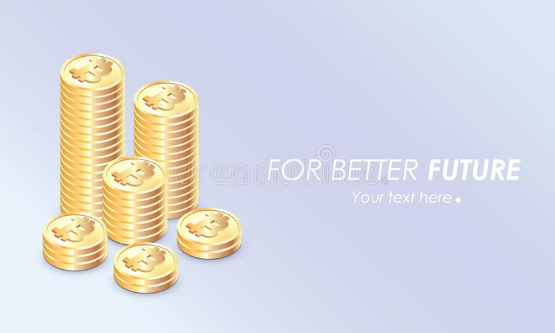 Bitcoin growth concept. Stacks of gold coins like income graph with bitcoin. Money icon in isometric style. bitcoin with pastel ba royalty free illustration