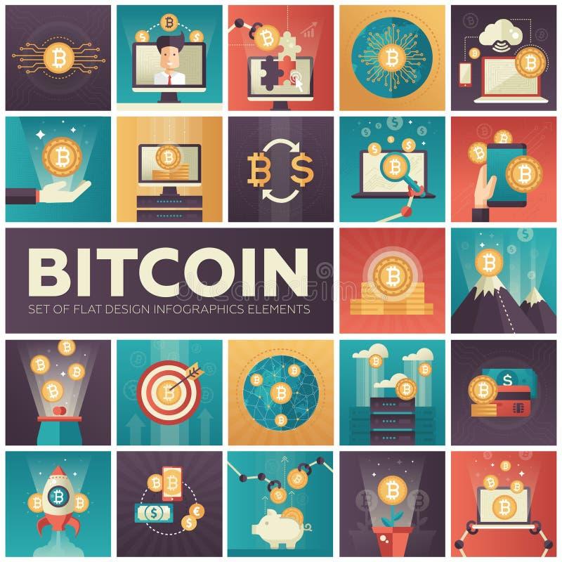 Bitcoin - grupo de elementos lisos coloridos do infographics do projeto ilustração royalty free