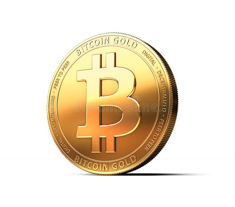 Bitcoin guld BTG som isoleras på vit bakgrund med kopieringsutrymme stock illustrationer