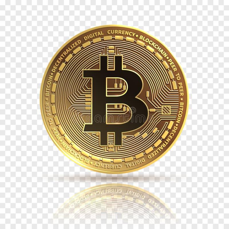 Bitcoin Guld- cryptocurrencymynt Symbol för elektronikfinanspengar Blockchain bitcoin isolerad symbol royaltyfri illustrationer