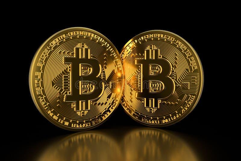 Bitcoin Guld- mynt med bitcoinsymbol som isoleras på svart bakgrund Digital valuta Kvarterkedja Cryptocurrency royaltyfria foton
