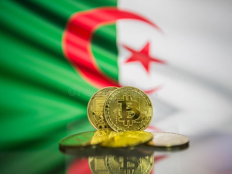 Bitcoin guld- mynt och defocused flagga av Algeriet bakgrund Faktiskt cryptocurrencybegrepp royaltyfria bilder