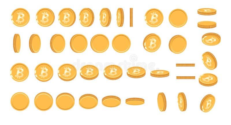 Bitcoin guld- mynt på olika vinklar för animering VektorBitcoin uppsättning Illustration för bitcoin för finanspengarvaluta vektor illustrationer