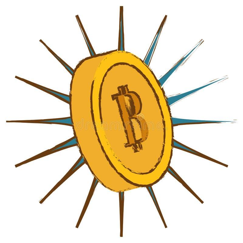 Bitcoin guling, digitalt tänt pengarsymbol vektor illustrationer