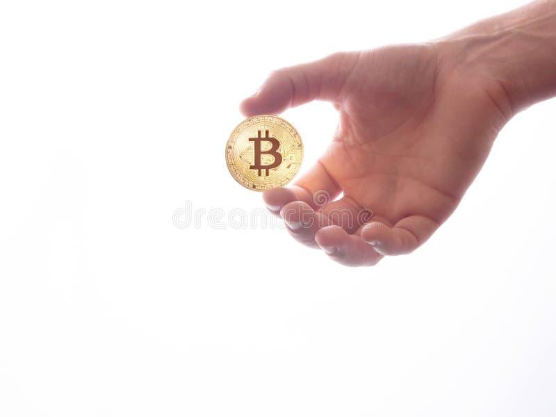 Bitcoin håll i händer som isoleras på vit bakgrund royaltyfria bilder