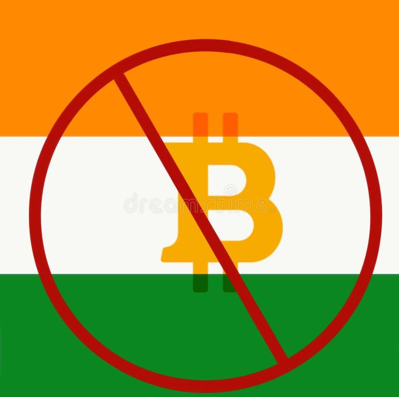 Bitcoin ha prohibido en la India ilustración del vector