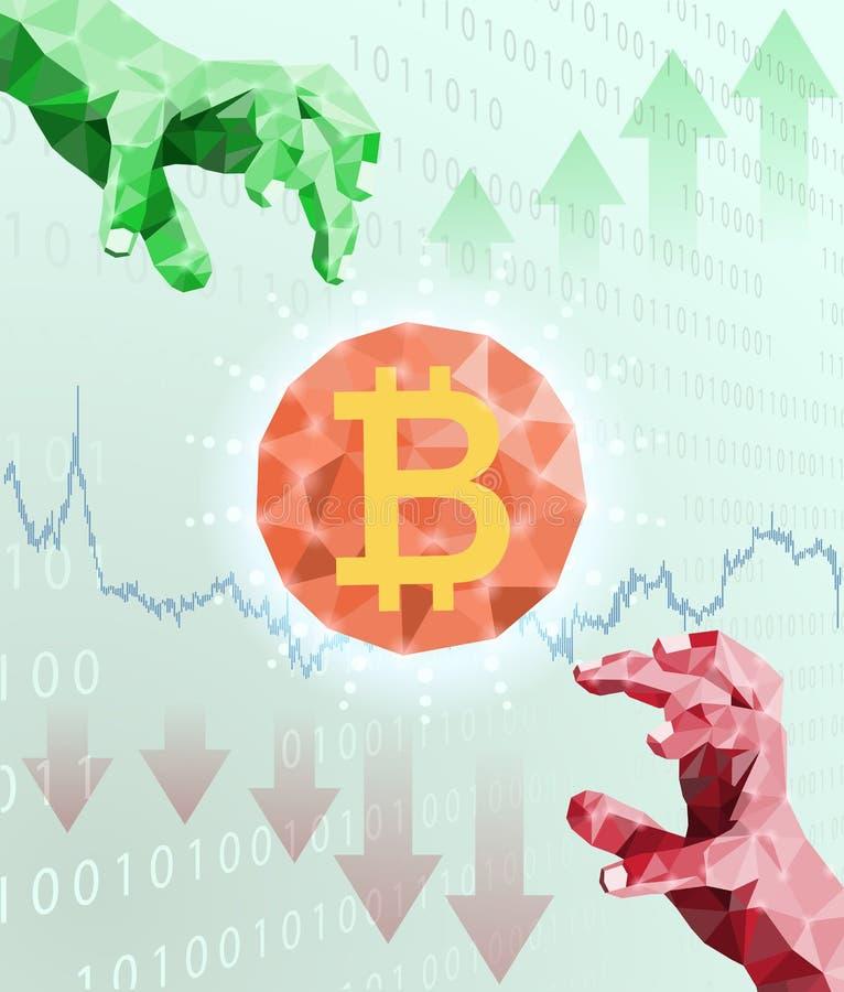 Bitcoin handel en prijs schommelingen vector illustratie