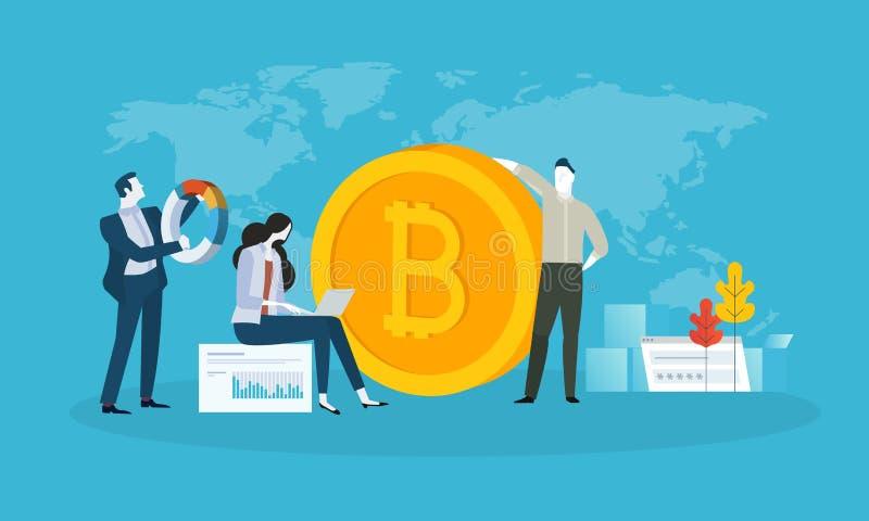 Bitcoin handlarska platforma ilustracji