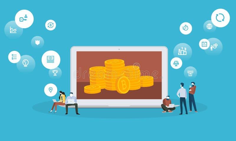 Bitcoin handlarska platforma ilustracja wektor