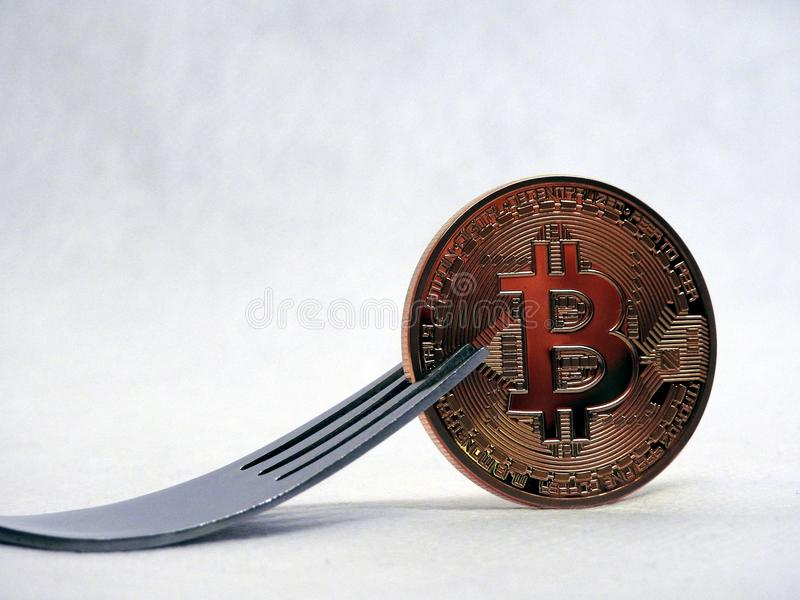 Bitcoin hard-soft fork stock photo