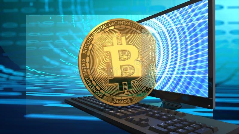 Bitcoin, het computerscherm en toetsenbord op blauw, digitaal, binair, cyber achtergrond royalty-vrije illustratie