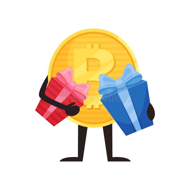 Bitcoin humanizado que guarda duas caixas de presente Caráter dourado da moeda dos desenhos animados Moeda cripto com mãos e pés  ilustração stock