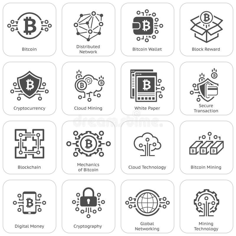 Bitcoin i Blockchain Cryptocurrency ikony ilustracji