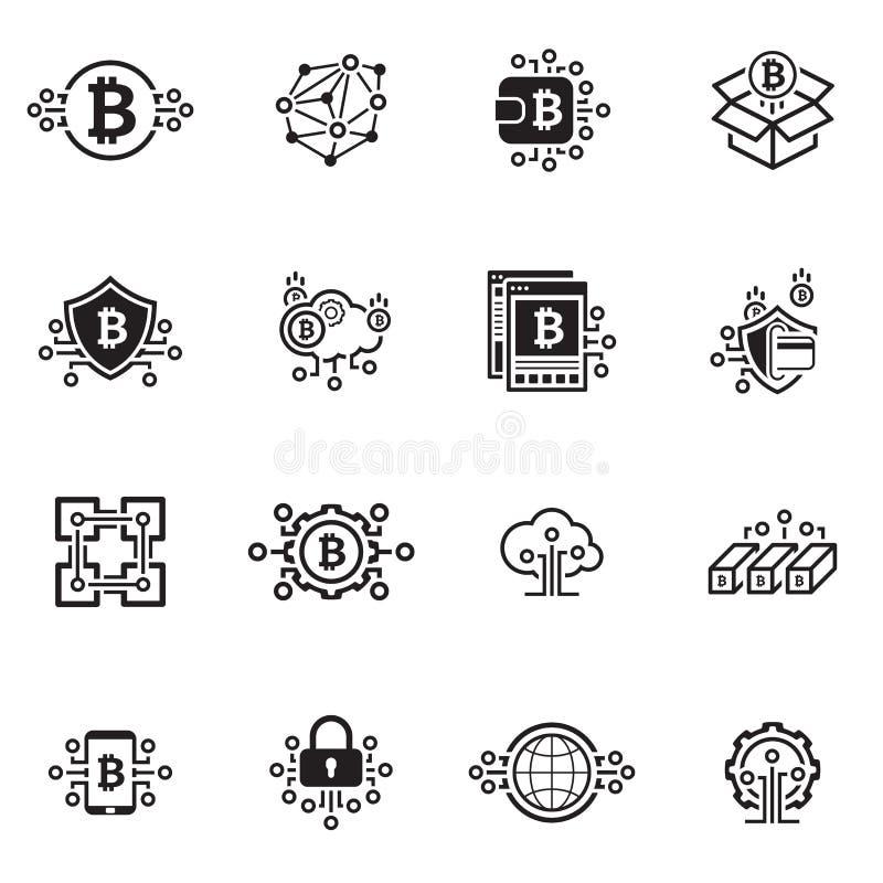 Bitcoin i Blockchain Cryptocurrency ikony ilustracja wektor