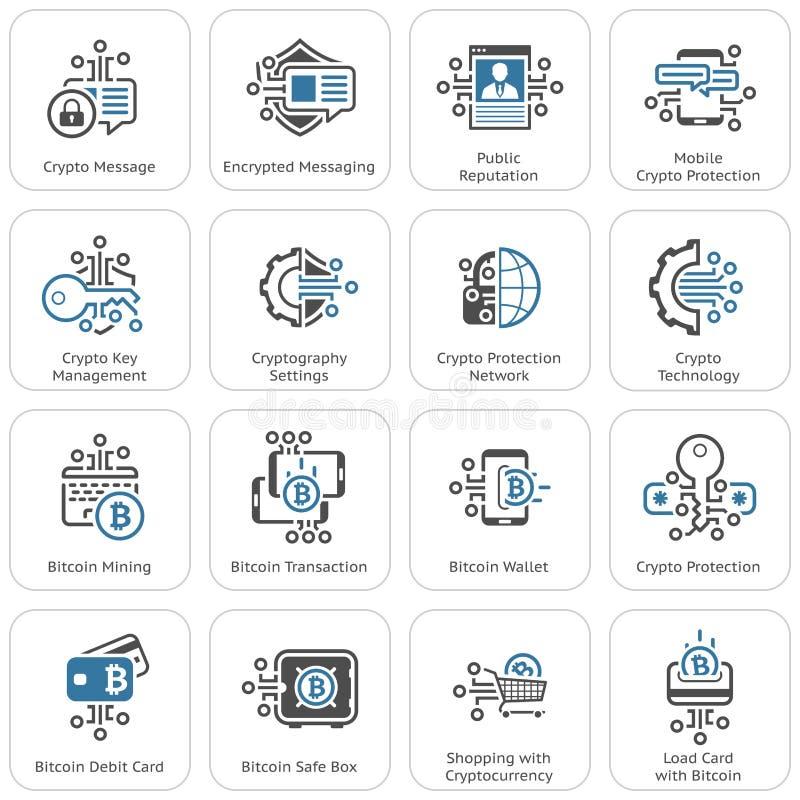 Bitcoin i Blockchain ochrony technologii Crypto ikony ilustracja wektor